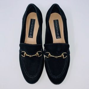 Steven by Steve Madden Quebec Black Suede Loafers
